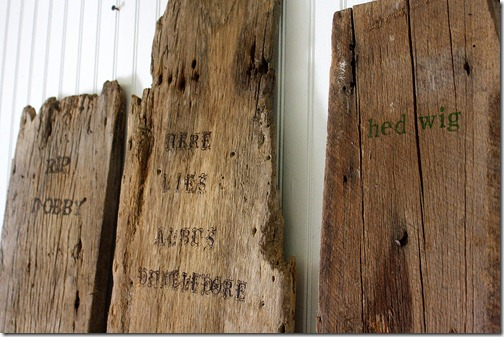 barnwood halloween tombstones via The Shabby Creek Cottage