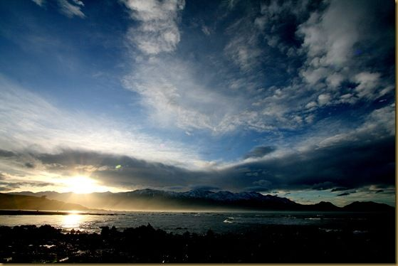 Mountains sea  blue sjy sunset mist Kaikoura skyline