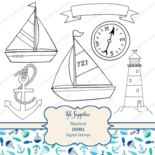 DS001 nautical digital stamps boats anchor etsy 1