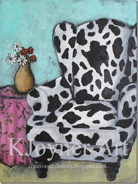Cow Wing Back Chair Painting