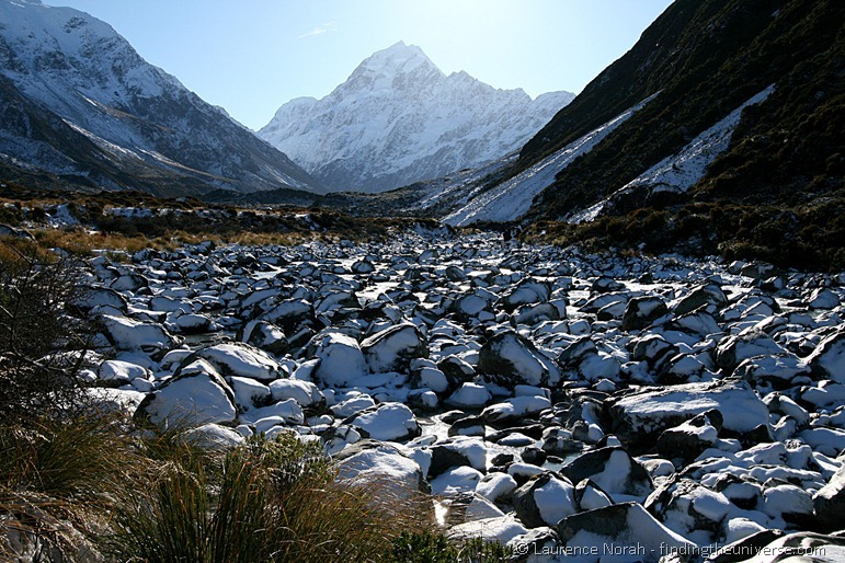 Snow covered rocks to Mount Cook