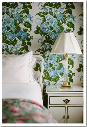 a guest bedroom at the Greenbrier, by Dororthy Draper and then redecorated by Carlton Varney