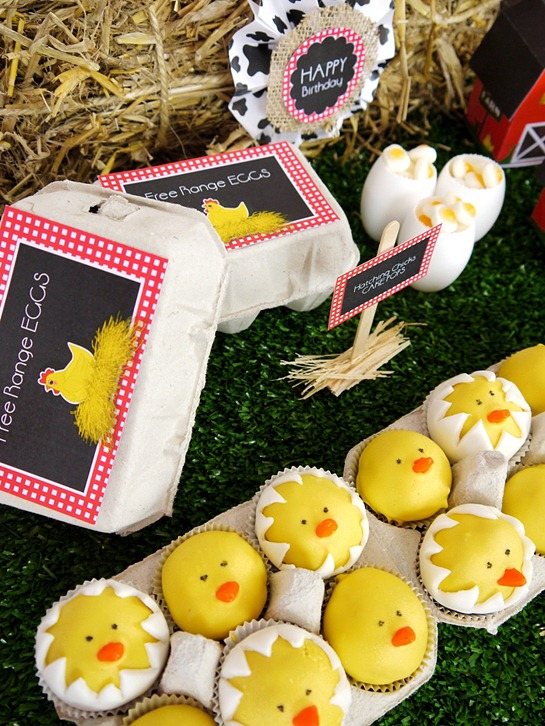 Barnyard Birthday- Hatching Chicks Cake Pops in Egg Boxes2