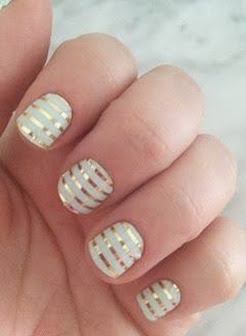 Jamberry white and gold