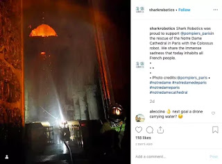 Nội dung mà Shark Robotic đăng trên trang Instagram sau vụ hoả hoạn.