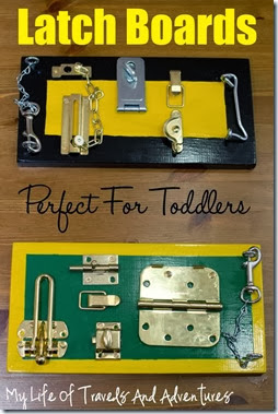 Latch Boards for Toddlers from My Life of Travels and Adventures