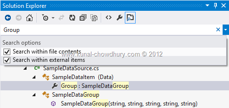 Search Filters in Visual Studio 2012 Solution Explorer