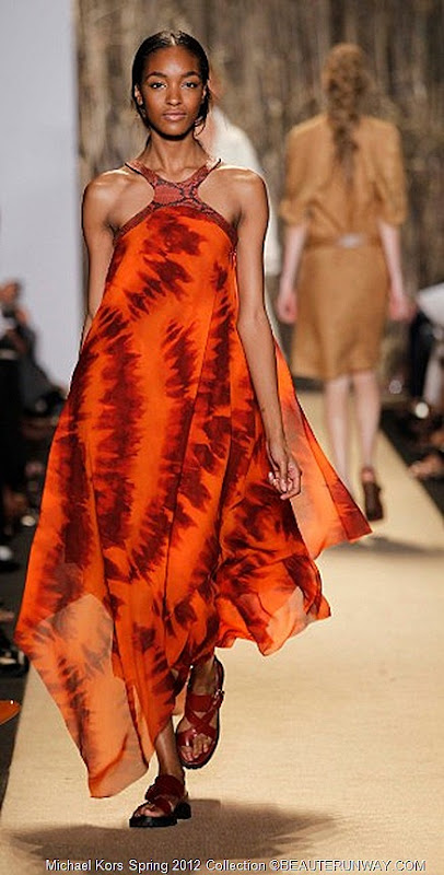 MICHAEL KORS 2012 SPRING COLLECTION SIENNA GEORGETTE HAND DYED SCARF DRESS