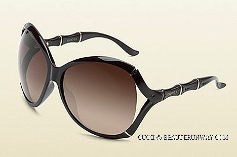 Gucci Liquid Wood sunglasses Fall Winter 2012 Spring Summer 2013 oversized oval frame bamboo effect  sunglasses with Gucci logo temples shaded grey glass lenses biodegradable fully recyclable