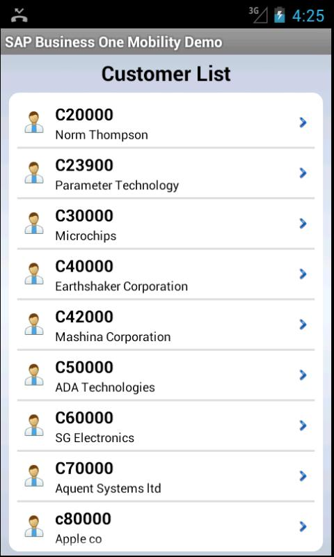 SAP Business One Mobility Demo - screenshot