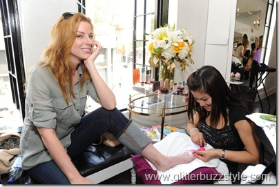 Diane Neal getting pampered