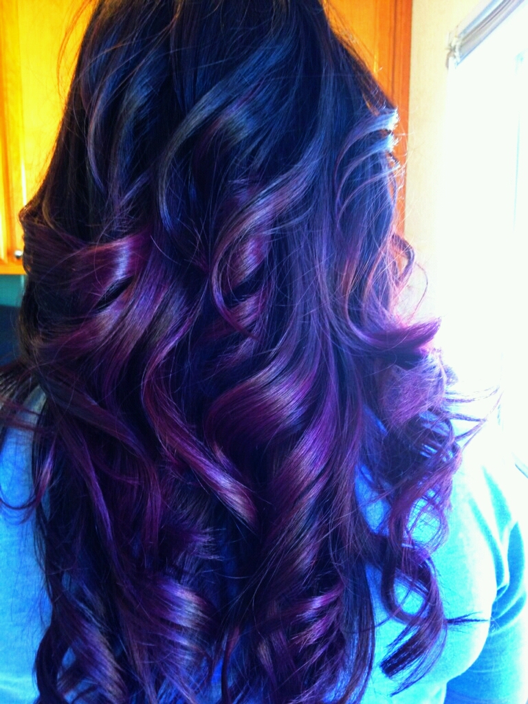 Healthy Hair Is Beautiful Hair..: Dark brown haircolor w/purple ombre