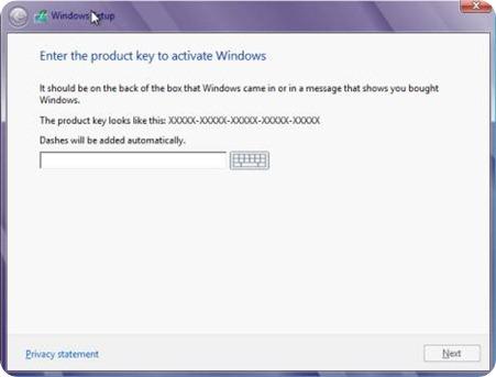 Enter the Microsoft validation key