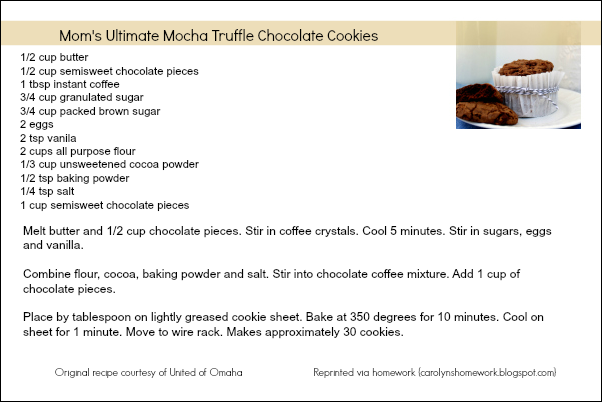 Mocha Truffle Chocolate Cookie Recipe Card
