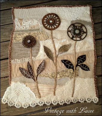 Rusty Flower Garden - Mixed Media Art Quilt by Vintage with Laces