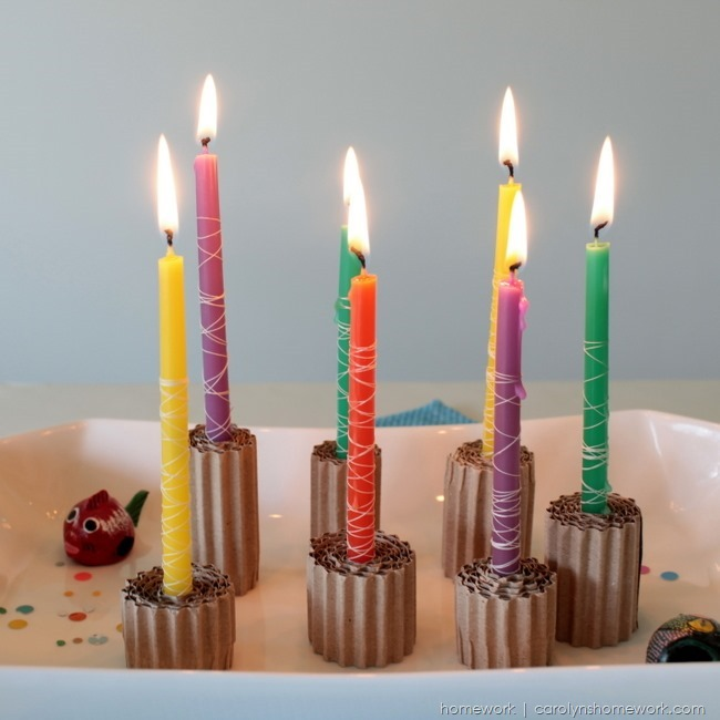 Thread Wrapped Candles via homework | carolynshomework.com