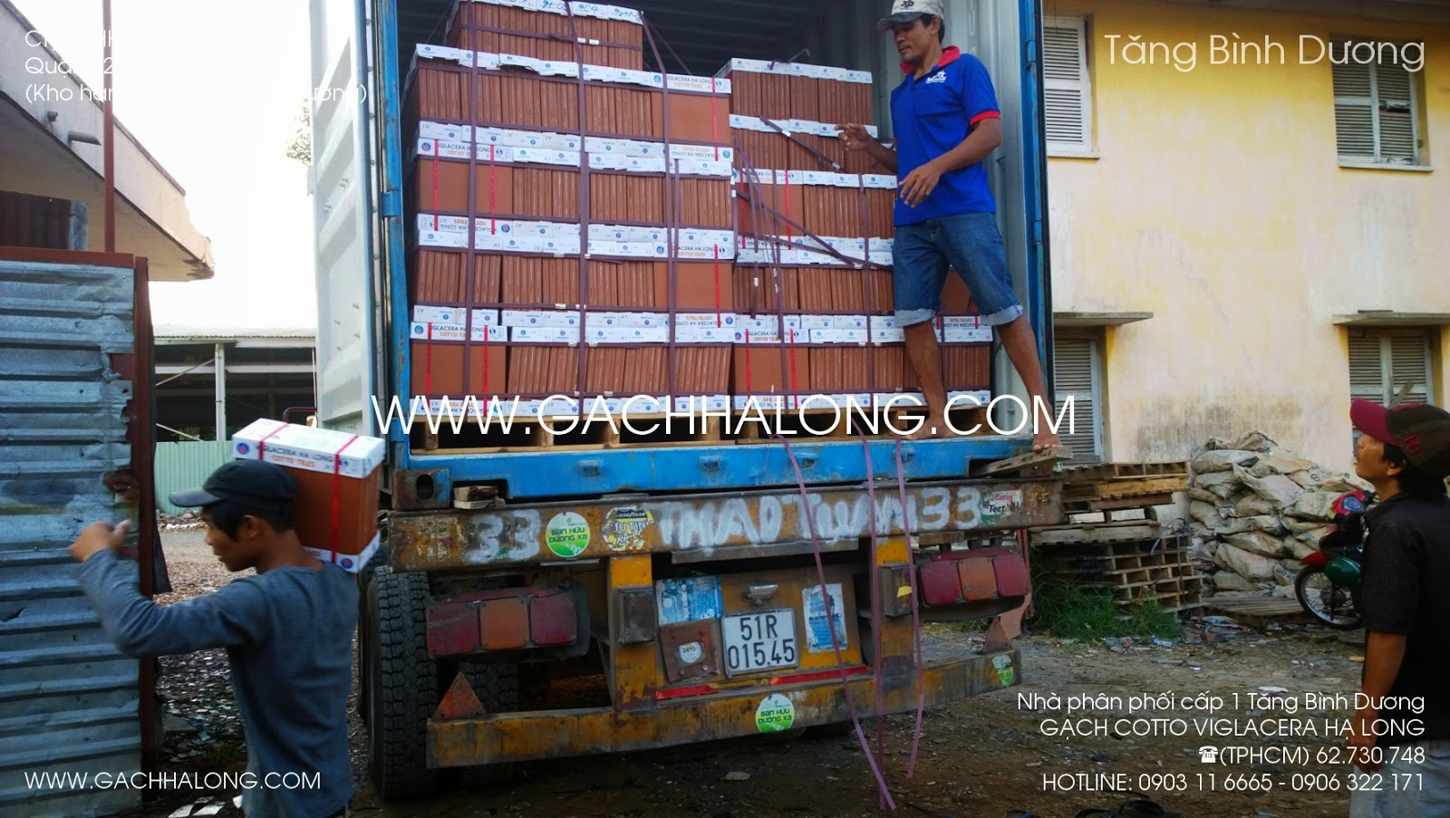 xe container xuong hang gach lat ha long