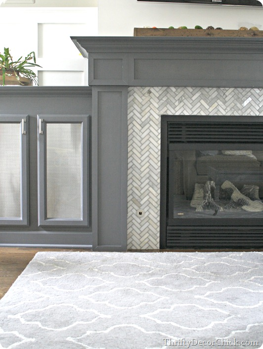 herringbone gray tile