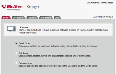 Free McAfee Stinger Virus Remover