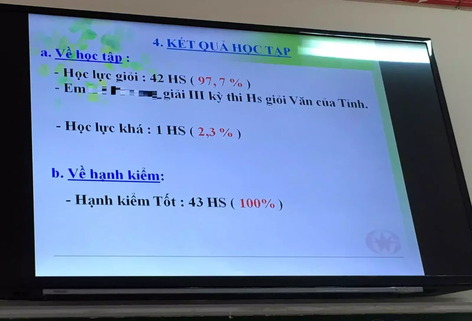 Lớp chọn của một trường học ở tỉnh Bà Rịa - Vũng Tàu có 42/43 học sinh giỏi.