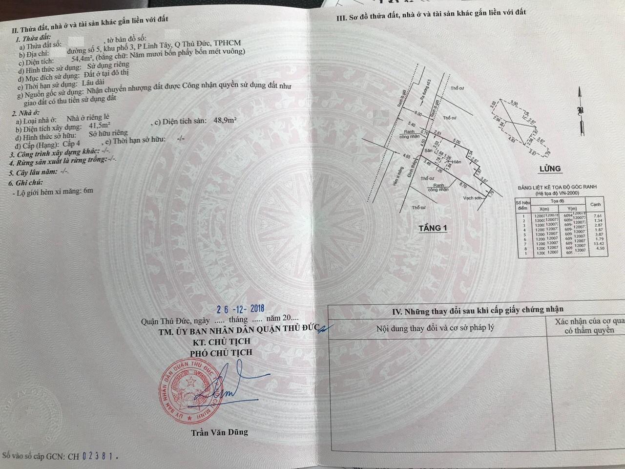 Bán nhà Cấp 4 chính chủ phường Linh Tây Quận Thủ Đức, diện tích 54,4 mét vuông, giá 3,25 tỷ