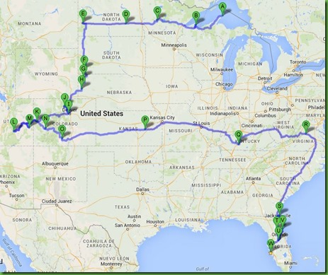 Map 2 2014 Travels