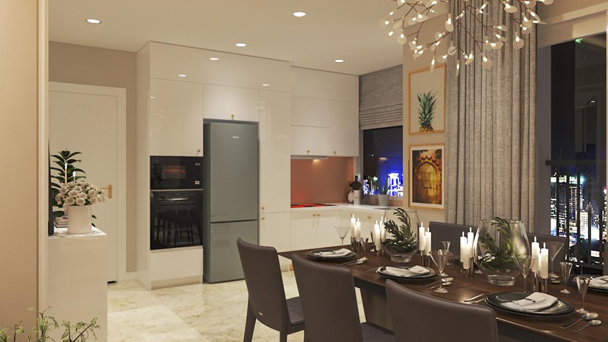 thiết kế bên trong căn hộ paris hoàng kim