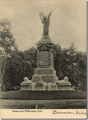 Aceh-War Victory Monument in Wilhelmina Park in 1910s Batavia (now Istiqlal Mosque)