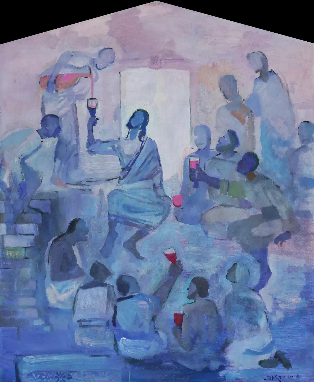 Wine Bibber (Tay Ăn Nhậu), tranh J. Kirk Richards.
