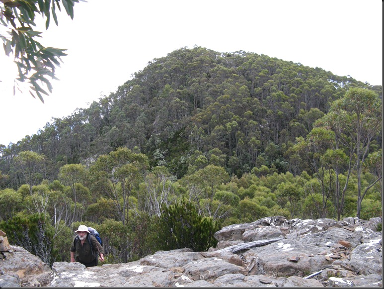 View back to the high point on Montagu Thumbs.  Adrian Blackman in foreground