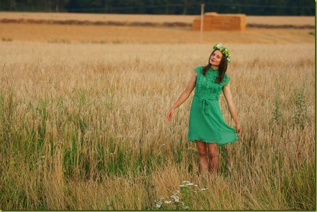 girl in golden barley field