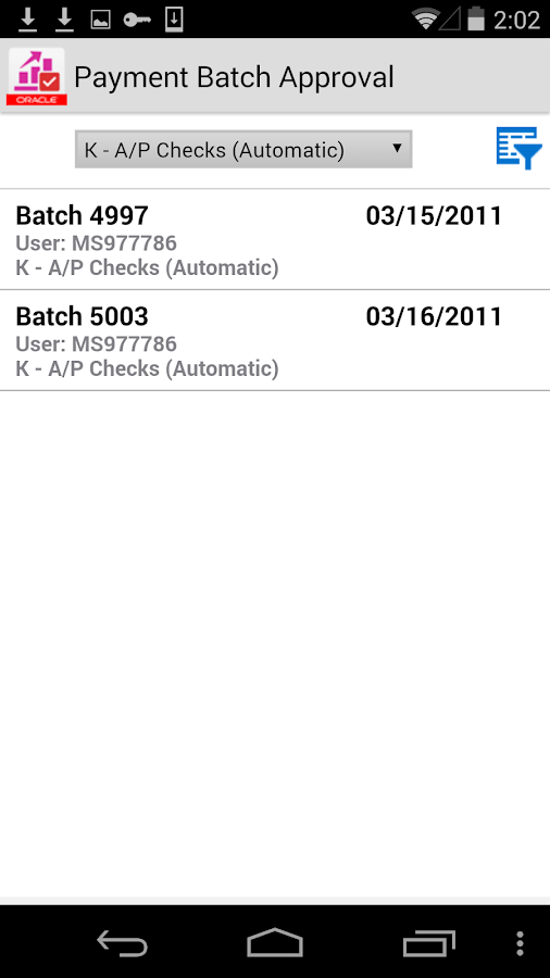 Payment Batch Approvals JDE E1- screenshot