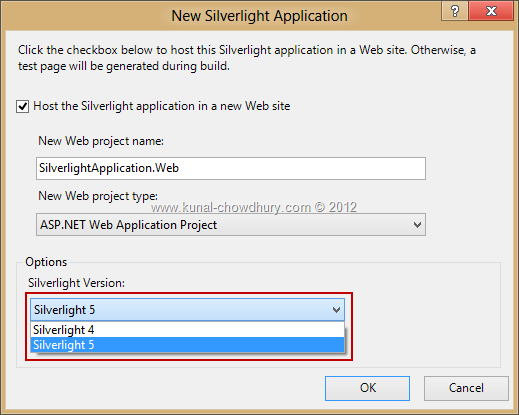 Silverlight 4 and Silverlight 5 comes with Visual Studio 2012
