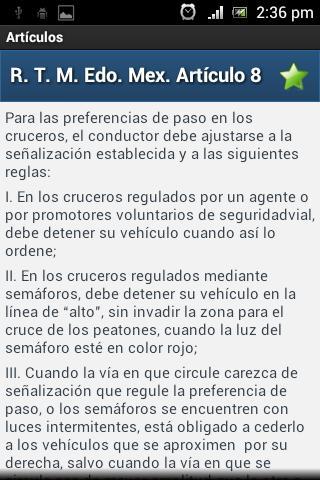 Reglamentos de tránsito - screenshot