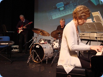 Denise Gunson on grand piano, Ian Jackson on drums and Brian Gunson on guitar. Photo courtesy of Peter Littlejohn.