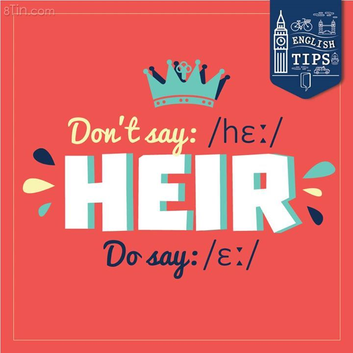 """If you say /hɛː/, it is """"hair"""". The right pronunciation for """"heir"""""""