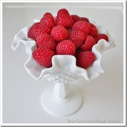 Millk Glass and raspberries