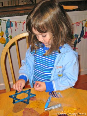 Hanukkah Craft - Star of David with Craft Stick and sequins