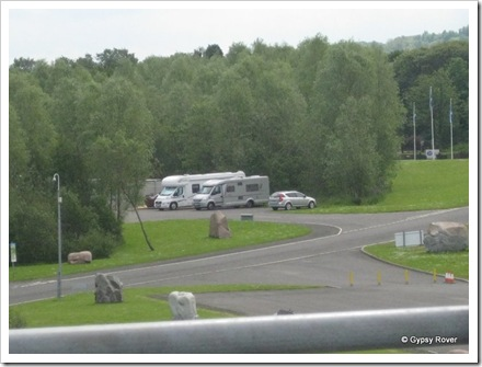 Gypsy Rover and another motorhome using the coach park at the Falkirk Wheel.