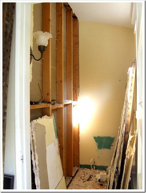 Demolising bathroom wall
