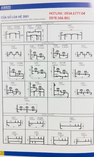 Mặt cắt nhôm Xingfa hệ 2001 (hệ cửa lùa)