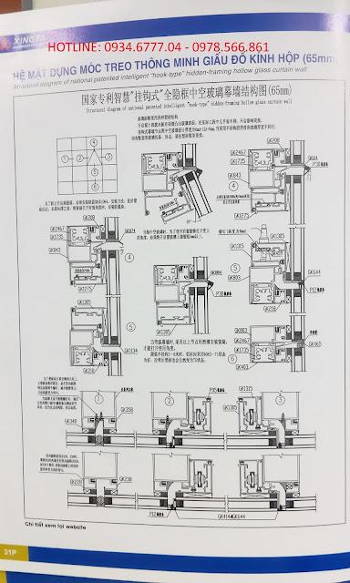 Nhôm Xingfa hệ 65 dấu đố sử dụng kính hộp ( mặt dựng)