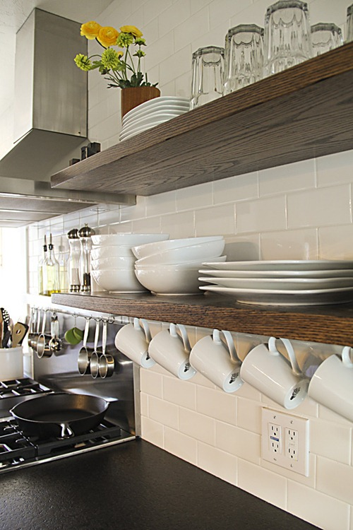 wood slab shelving kitchen