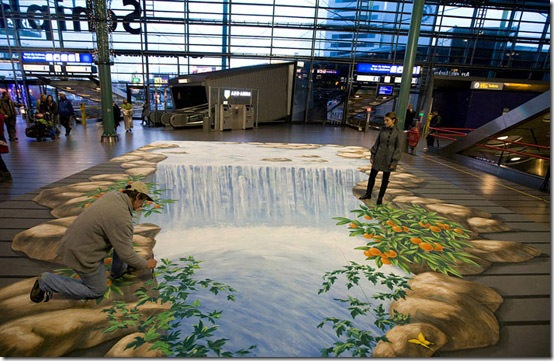Waterfall in airport. Amsterdam, Netherland-3D Paintings
