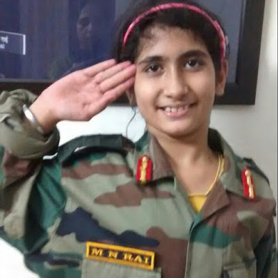 Late ColMNRais daughter saluting men of 19 RR and SoG for eliminating