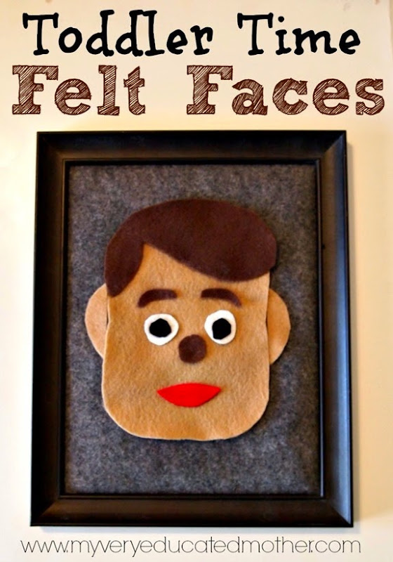 Toddler Activity: Fun Felt Faces to learn facial features! via @mvemother