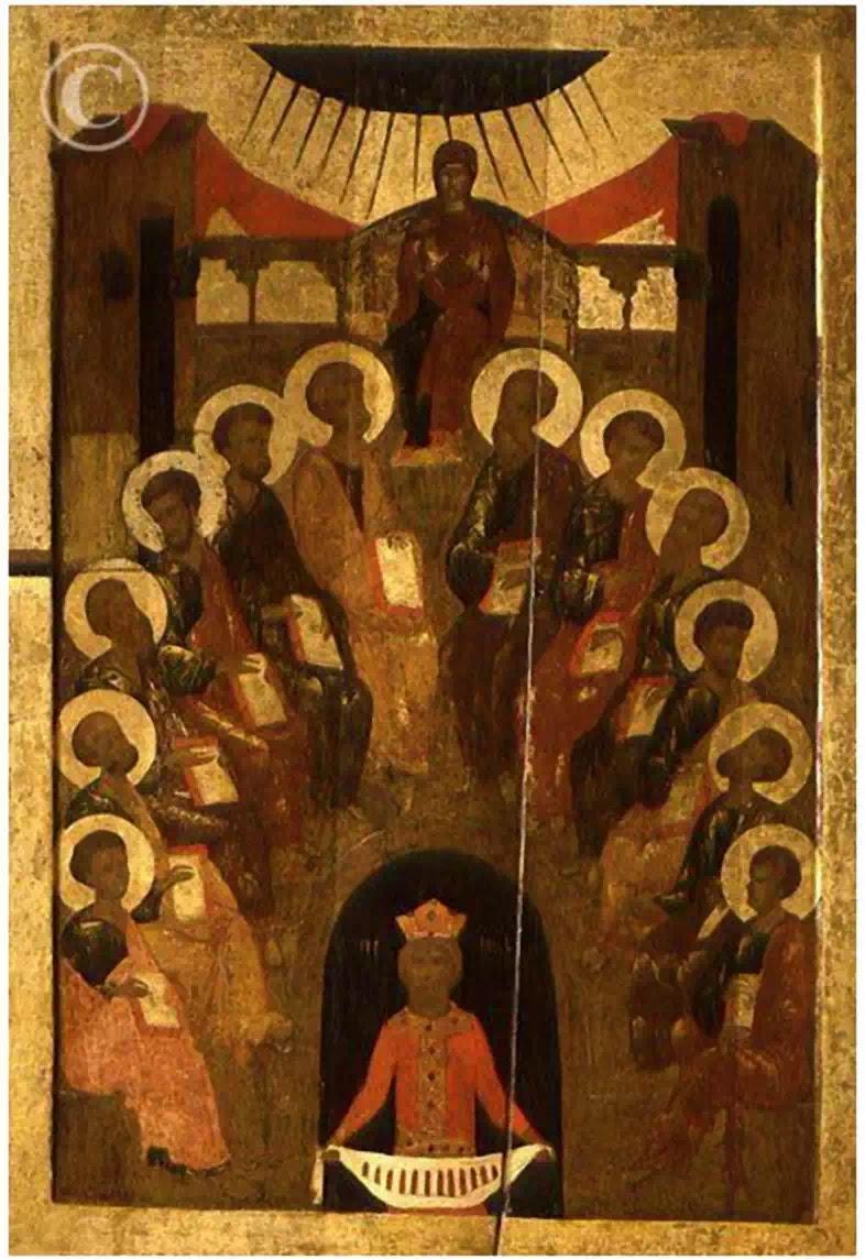 """Chúa Thánh Thần hiện xuống"""" - Icon Byzantium - đầu thế kỷ XV"""