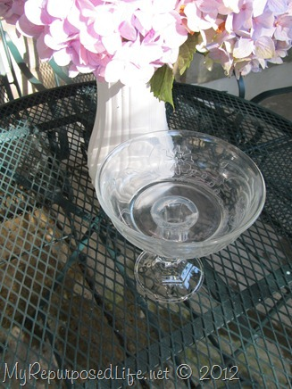 repurposed glassware (bowl on stand)