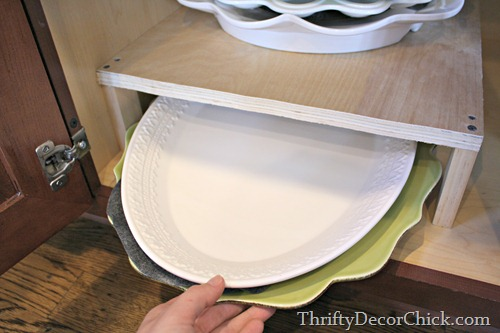DIY shelf in kitchen cabinet