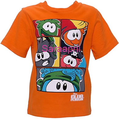 Orange Club Penguin T-Shirt with Puffles :)
